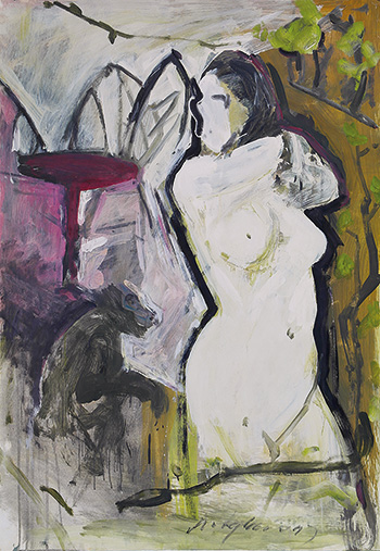 Wong Keen, Nude with Monkey, 1998, oil on paper, 63.5 x 99 cm