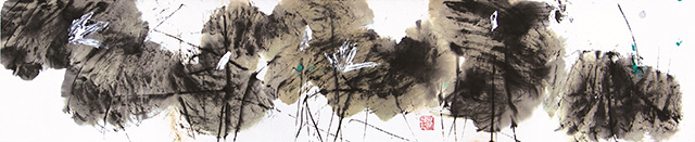 Chua Ek Kay, Lotus Series - Summer Rendezvous 荷花系列-夏之荷, Ink on rice paper, 21 x 106 cm