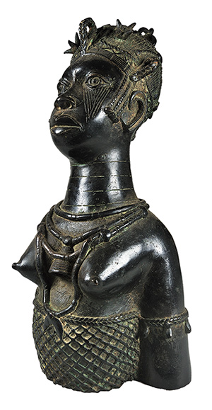 Benin Kingdom Queen Bust from Nigeria, Bronze