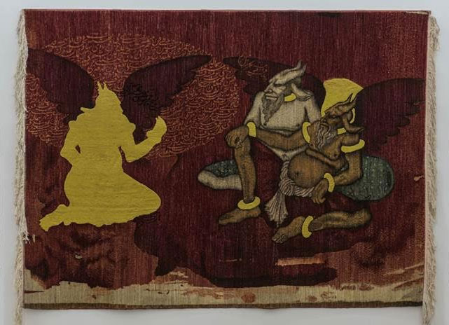 Khadim Ali, Transition/Evacuation 2, 2014, Wool, cotton thread and ink, 198 x 267 cm