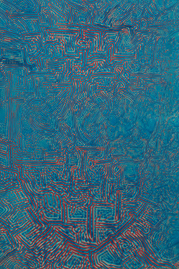 Raymond Yap, Untitled (blue and red), Gloss paint on aluminum panel. 61 x 46 cm