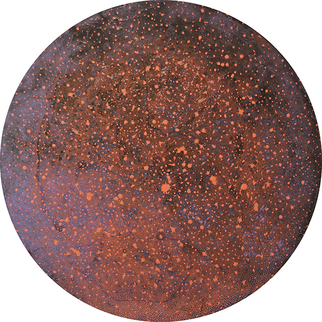 Raymond Yap, Unexplored Galaxies Oil-based mixed media on MDF board, Ø  120 cm
