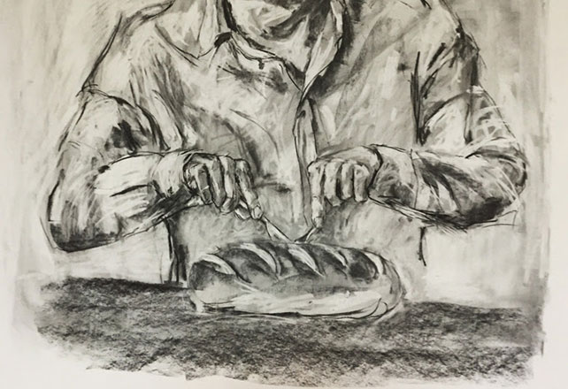 Zhang Fuming, Bread, Charcoal on Paper, 160 cm x 110 cm, 2015