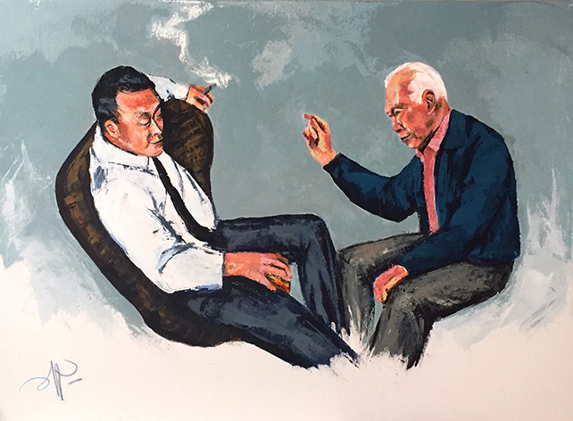 Pepper See, In Conversation, Acrylic, 76 cm x 100 cm, 2015