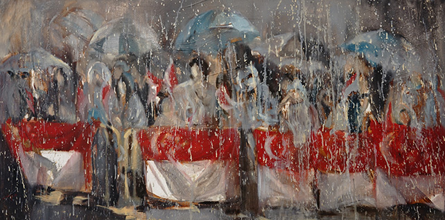 Chang Hui-Fang, The raining day, Oil on canvas, 123 cm x 61 cm, 2015
