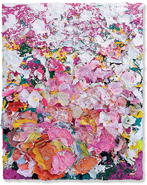 Zhuang Hong Yi, Summer Flower, 2014, Rice paper and acrylic on canvas, 150 x 120 cm
