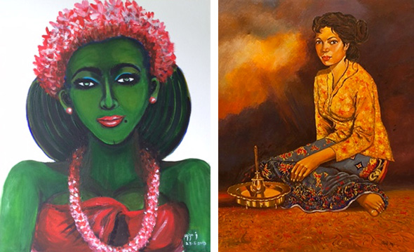 Left: Aziza-Ali, TRANQUIL, Acrylic, mixed media on canvas, 535 x 635 mm, 2013 right: Idris Ali, PORTRAIT OF A MALAY LADY, Acrylic on canvas, 114  x 144 cm, 2012