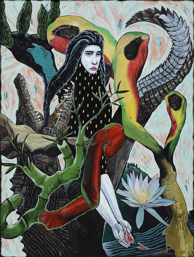 Rodel Tapaya, The Helpful Crocodile, 2015, acrylic on canvas, 101,5 × 76 cm