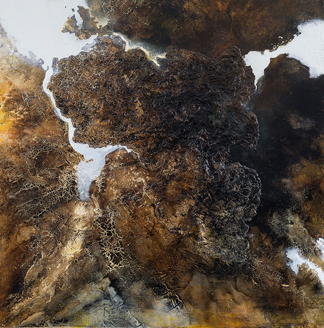 Kavita Issar Batra, Lost continents, Urban Forest series, 2014, 122 x 122 cm Mixed media on mounted plywood