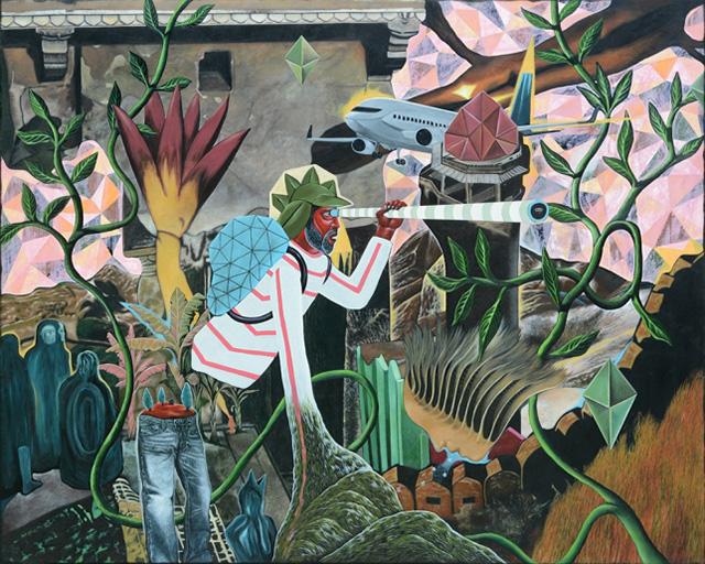 Rodel Tapaya, Finding Diamonds, 2015, acrylic on canvas, 183 × 227,5 cm