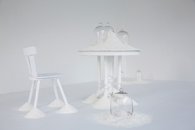 Ezzam Rahman, Allow me to introduce myself, 2015, Performative installation with talcum powder, second-hand furniture and glass bell jars, Dimensions variable, Singapore Art Museum commission, Collection of the Artist Image credit: Singapore Art Museum