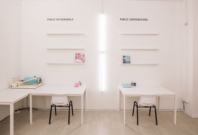 Loo Zihan, Of Public Interest: The Singapore Art Museum Resource Room, 2015 Installation of books from the Singapore Art Museum, Dimensions variable Singapore Art Museum commission, Collection of the Artist Image credit: Singapore Art Museum