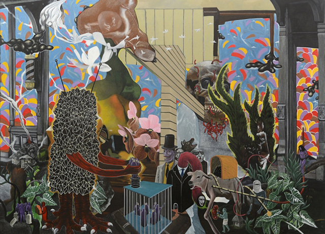 Rodel Tapaya, Slave Broker, 2015 acrylic on canvas, 243,84 × 335,28 cm