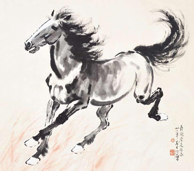 Xu Beihong, Running Horse, 1943, ink and colour on paper