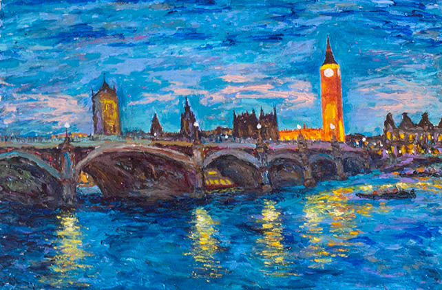 Dr Ho Kah Leong, London by Night, England, 2014, Acrylic on Canvas, 61cm x 92cm