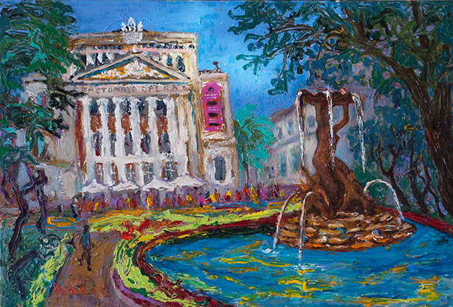 Dr Ho Kah Leong, Latvian Opera House, Europe, 2013, Oil & Acrylic on Canvas, 61cm x 92cm