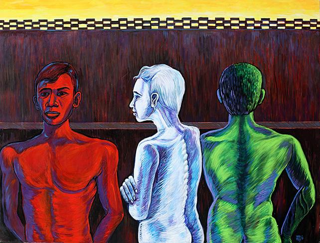 San Minn, Three Colours, 2015, acrylic on canvas