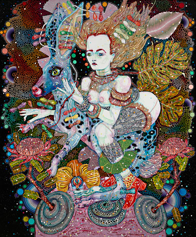 Del Kathryn Barton, the highway is a disco, 2015, acrylic on linen, 240 × 180 cm