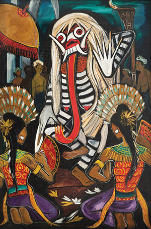 CHEONG SOO PIENG, (Singaporean, 917-1983) Balinese Dance, Oil on canvas, 134 x 87.5 cm, 52 ¾ x 34 ⅜ in.), Painted in 1953