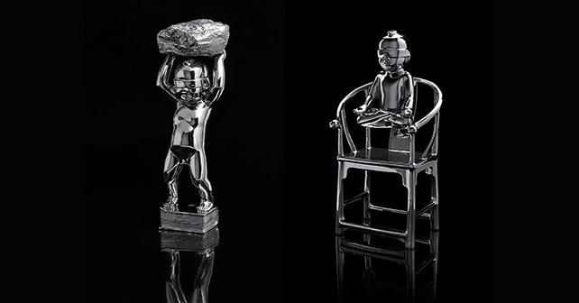 left: Xie Ke, A Belief, Chrome Steel, H58 cm, 2011 right: Xie Ke, In Meditation, Chrome Steel, H 52 cm, 2013