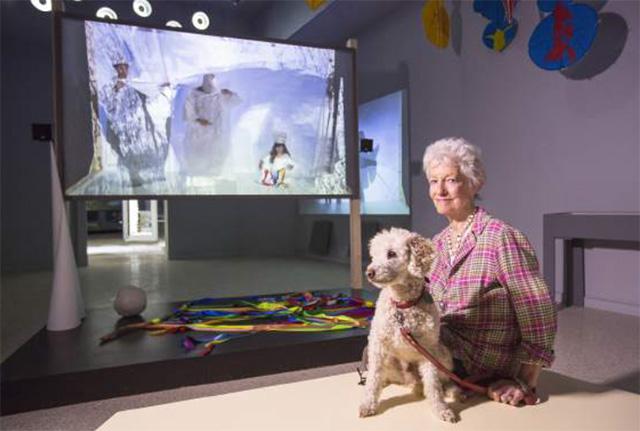 Joan Jonas and her dog Ozu. Photo by Moira Ricci
