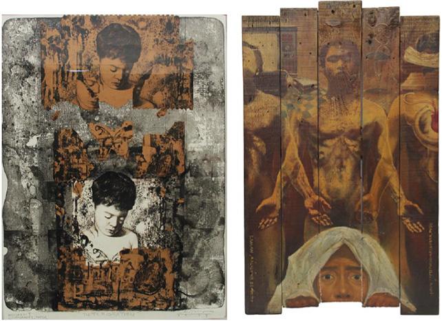 "Left: ""Deterioration"" by Ronald Ventura Right: ""Laman, Kaluluwa, Espiritu, Isipan, Damdamin-Kalooban, Puso"" by Ronald Ventura"