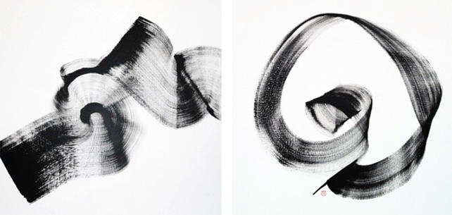 """left: """"Move"""" by Simon Wee, right: """"Conscious"""" by Simon Wee"""