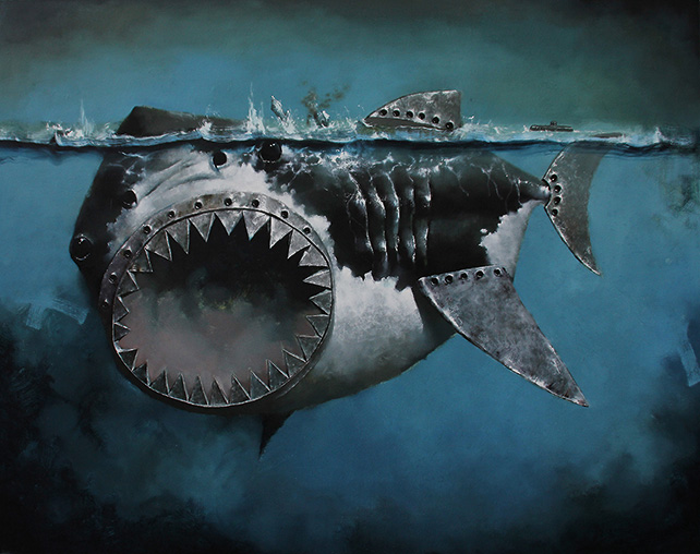 Jaws by Cai Jun, 110 x 140cm, Oil on Canvas, 2015