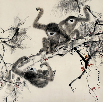 CHEN WEN HSI 陳文希 Gibbons, 猿猴嬉戲圖, 65 x 65cm, ink and colour on paper, hanging scroll