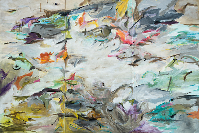 Magali Pagani, Stealing my Thunder, 2015, Acrylic on Linen, 3 panels, 182.5 cm x 122 cm