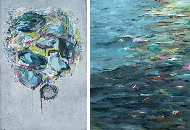 left: Magali Pagani, Amy's Unstoppable Self-Menace, 2015, Oil on Canvas, 122 cm x 182.5 cm