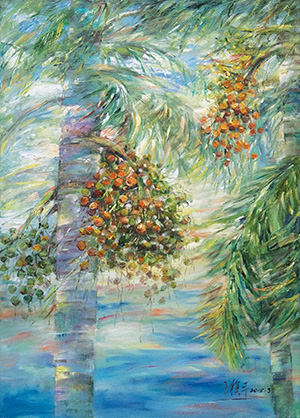 Wang Mo Ping, Areca Palm, Oil on Canvas, 105 x 75 cm, 2015