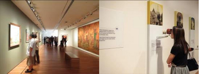 Images from left to right: Visitors exploring the DBS Singapore Gallery. Image on right: A visitor exploring the UOB Southeast Asia Gallery.