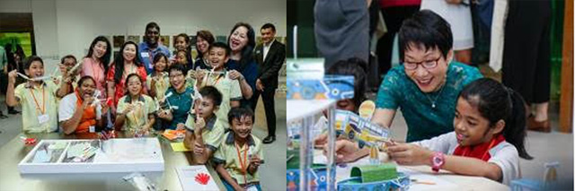 """Images from left to right: Minister Grace Fu and children showcasing their completed pocket sculpture at the Children's Museum in the Keppel Centre for Art Education. Image on right: Minister Grace Fu with a student creating the """"Nomadic Bus"""" at the Project Gallery in the Keppel Centre for Art Education."""