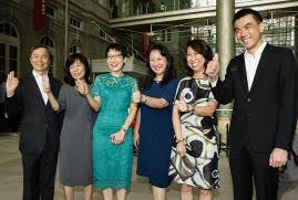 Minister Grace Fu, Mrs Rosa Daniel, Ms Yeoh Chee Yan and Gallery Management at the opening of the Gallery doors – Padang atrium entrance. (From left: Hsieh Fu Hua, Chairman National Gallery Singapore, Rosa Daniel, Deputy Secretary, MCCY, Minister Grace Fu, MCCY, Yeoh Chee Yan, Permanent Secretary, MCCY, Chong Siak Ching, CEO of National Gallery Singapore, and Eugene Tan, Director of National Gallery Singapore)