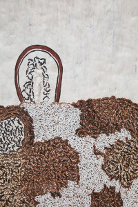 The Rock at Trial Bay (Detail) - Wukun WANAMBI, 189 x 65cm, Natural Earth Pigments on Bark - Nuwayak (Code: 4401T)