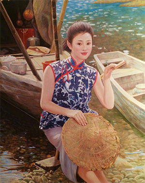 Woman by the boat by Huang Wen Cheng