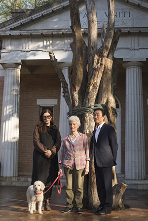 Ute Meta Bauer, Joan Jonas, her dog Ozu, and Paul C.Ha. Photo by Moira Ricci.