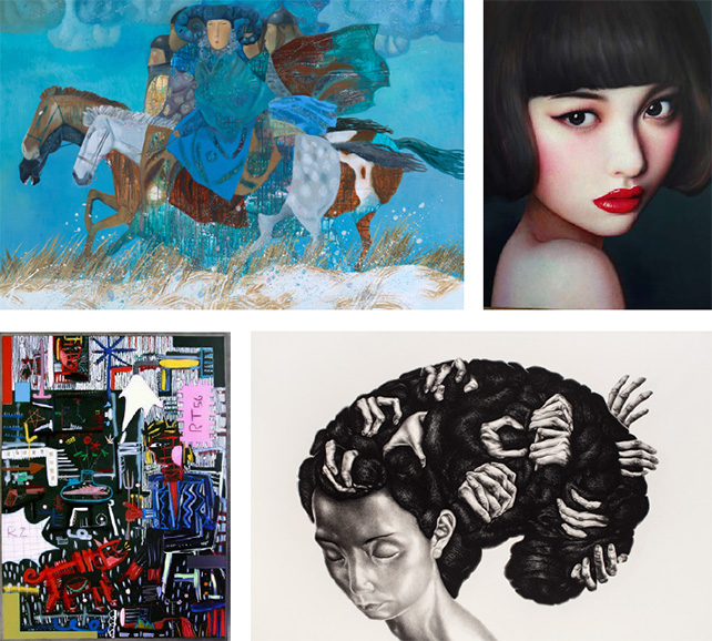 "Top left image: ""March"" by Zorikto Dorzhiev, Khankhalaev Gallery, Russia, Booth B01 Top right image: ""Beijing Girl 2015-3-2"" by Zhang Xiangming, Soemo Fine Arts, China, Booth D06 Bottom left image: ""XP Black Series - I Am Here"" by Choi Woolga, Khalifa Gallery, Korea, Booth B14 Bottom right image: ""Thought 4"" by Ji, Yo-Sang, Artists in Taiwan, Tawian, Booth D13"