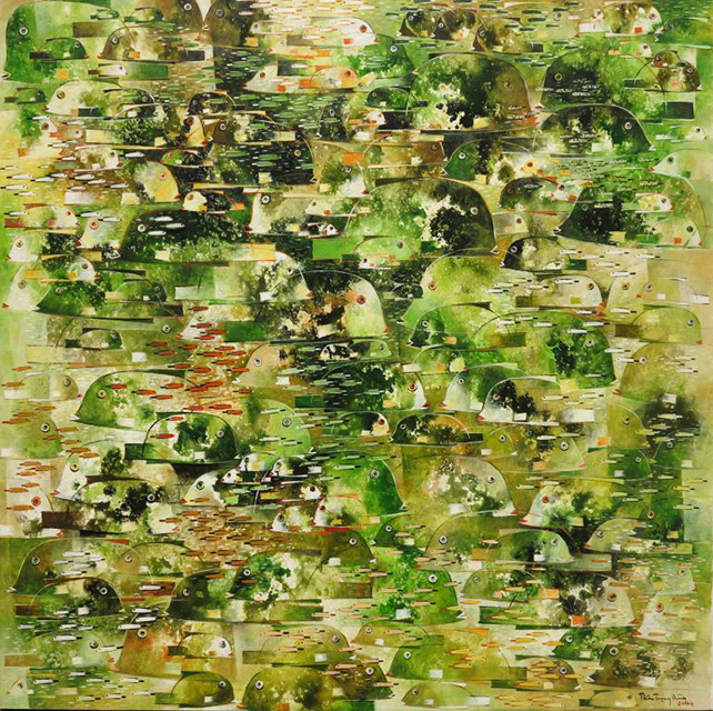 "Than Trong Dung, ""Green Fish"", Oil on canvas, 120 x 120 cm"