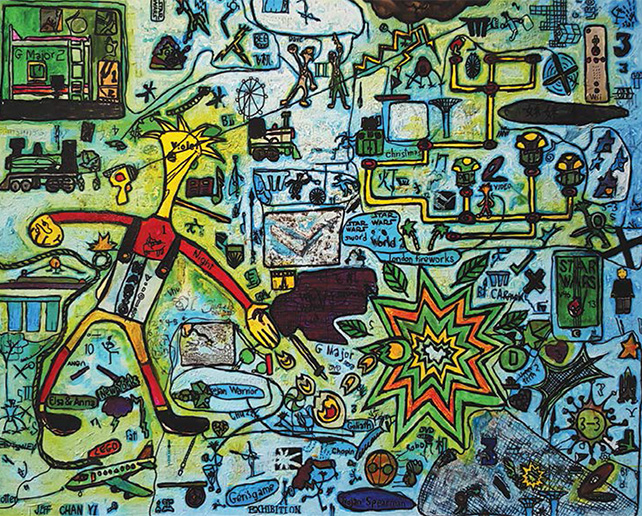 Ezra Chan, Play, 91 cm x 122 cm, Acrylic on canvas