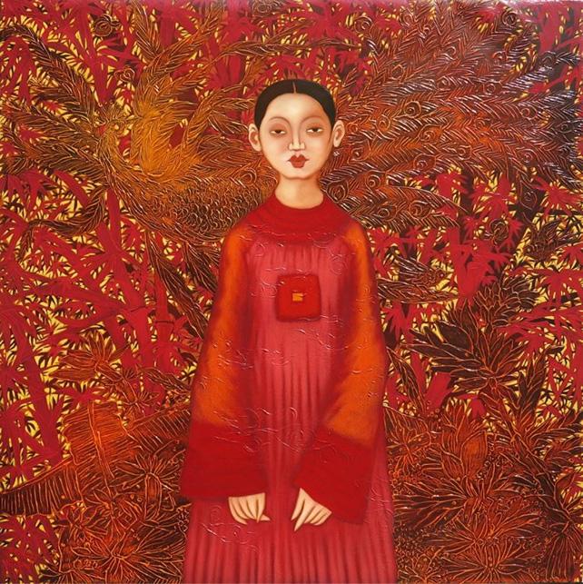 "Pham Hoang Anh, ""Hue Beauty"", Acrylic on canvas, 120 x 120 cm"