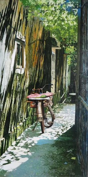 "Nguyen Ngoc Anh, ""Mid-day Break"", Oil on canvas, 60 x 120 cmThan Trong Dung"
