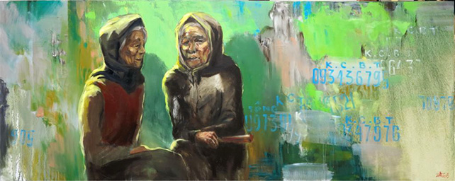 """Nguyen Hai Anh, """"Chatting"""", Oil on canvas, 100 x 250 cm"""