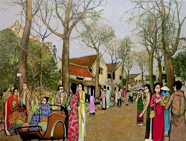 """Tran Quang Huan, """"New Year Flower Market"""", oil on canvas, 120 x 160 cm"""