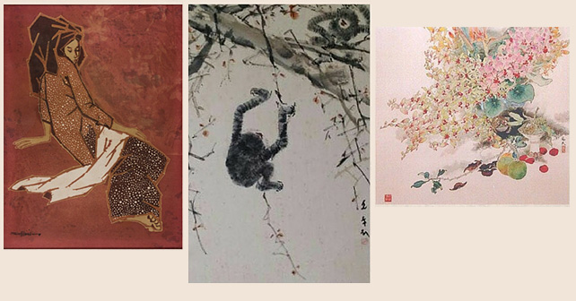left: Seah Kim Joo, Lady, batik textile, 58 × 43 cm middle: Chen Wen Hsi, Gibbons, 69 x 45.5 cm, chinese ink and colour on paper right: Lee Hock Moh, Orchids, 1980s, 63 x 63 cm, chinese ink and colour on paper