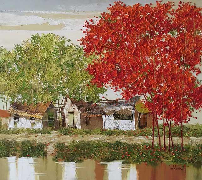 Lim Khim Katy, Houses Along The Canal, Oil on canvas, 90 cm x 100 cm