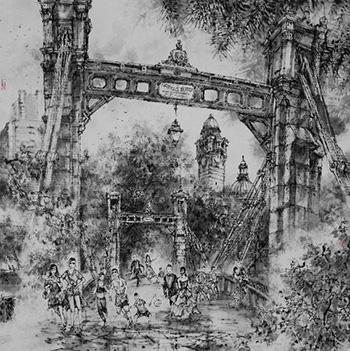 Street Opera, ink on rice paper, 97 x 97 cm, 2015