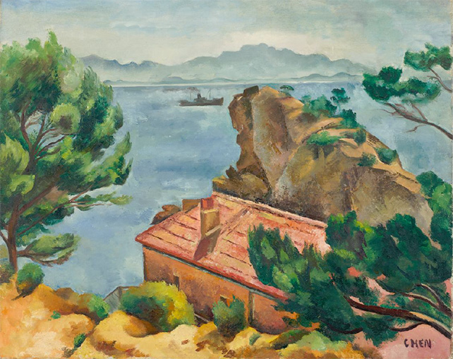 Georgette Chen, Landscape, c. 1930s, Oil on canvas, 65 x 81 cm Collection of Centre Pompidou, Paris, MNAM-CCI © Dr Lee Seng Gee, Photo: © Centre Pompidou, MNAMCCI/Jim Purcell/Dist. RMN-GP