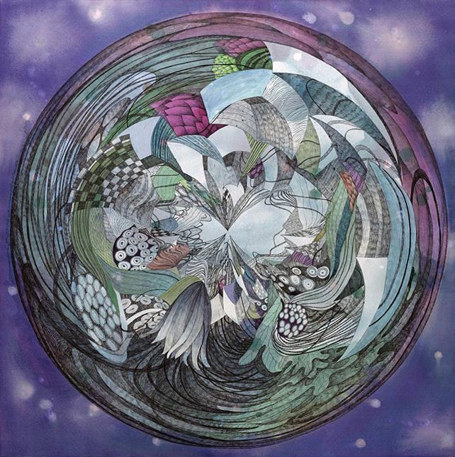 Si Jae Byun Moon #2 Acrylic and ink on silk 120 x 120 cm